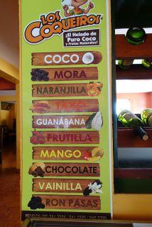 Ein kleiner Auszug aus der in Ecuador erhältlichen Früchtevielfalt (hier als Glace, meist aber als Jugo, Saft)