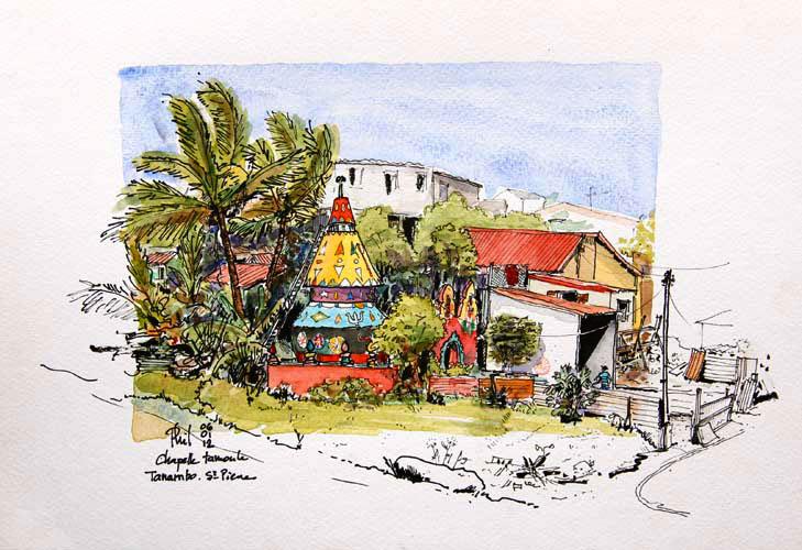 Aquarelle d'une chapelle tamoule, Siant-Pierre, Ile de la Réunion