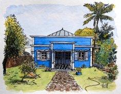 Aquarelle d'une case créole bleue.