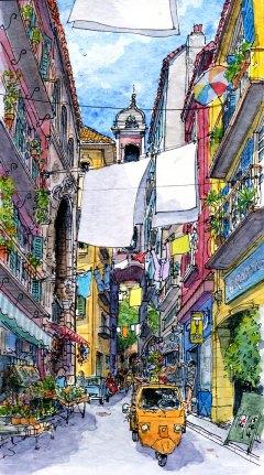 Tableau représentant une ruelle de Naples, traversée de cordes à linge.