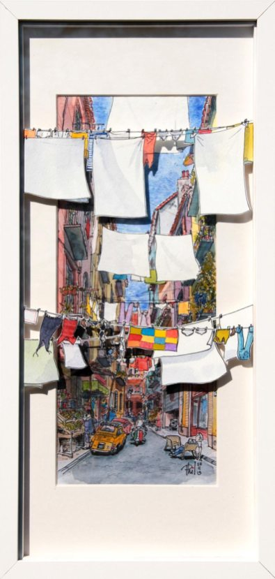 Aquarelle représentant une ruelle de Naples.