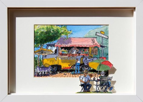Aquarelle représentant un camion bar, typique de la Réunion
