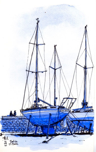 Voilier au sec, port de Saint-Pierre, Ile de la Réunion.