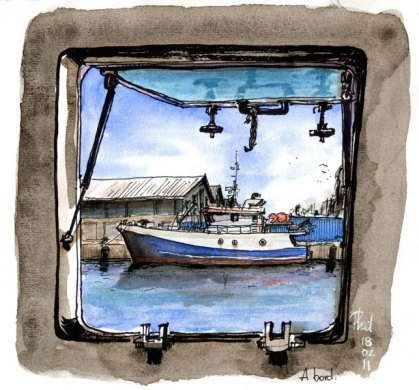 Sketch of a fishing boat, Reunion Island.