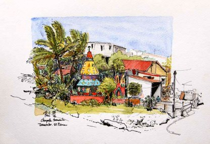 Sketch of a tamil temple, Reunion Island, by Phil