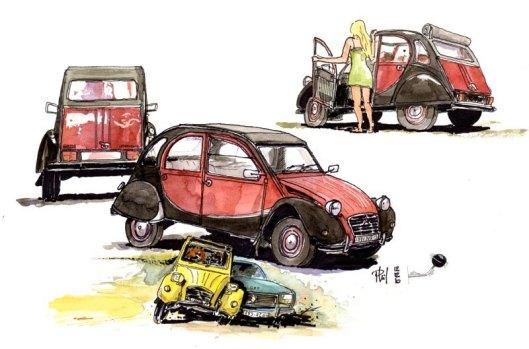 Sketches of 2CV Citroën.