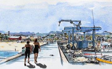 Watercolor of Saint-Pierre's harbour, Reunion Island, by Phil