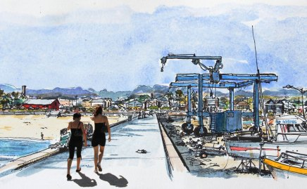Watercolor of Saint-Pierre's harbour, Reunion Island, by Phil