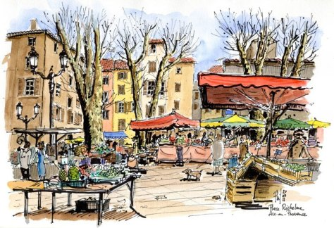 Sketch of a Richelme place, Aix-en-Provence, by Phil