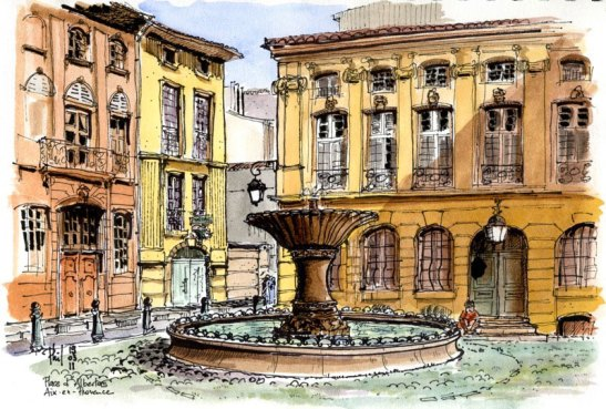Sketch of the d'Albertas place, Aix-en-Provence, by Phil