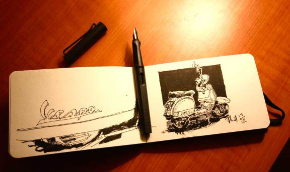 Sketch of a Vespa PX.