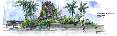 Croquis aquarelles d'un temple tamoul dans le centre de Saint-Pierre, île de la Réunion