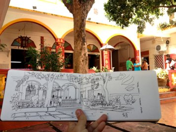 Sketch of a chinese temple, Saint-Pierre, Reunion Island.
