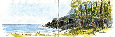 Croquis aquarellé de la plage de Grande Anse, Île de la Réunion.