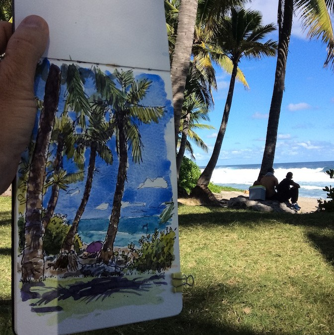 Croquis d'une plage à la Réunion : pelouse et cocotiers.