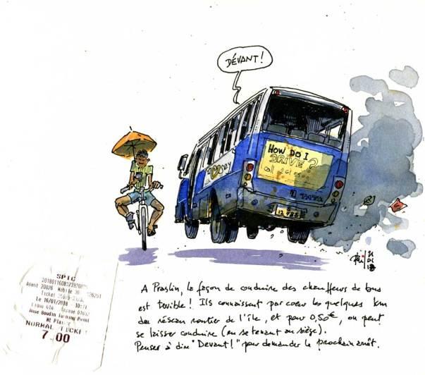Sketch of Tata bus, in Praslin , Seychelles Islands