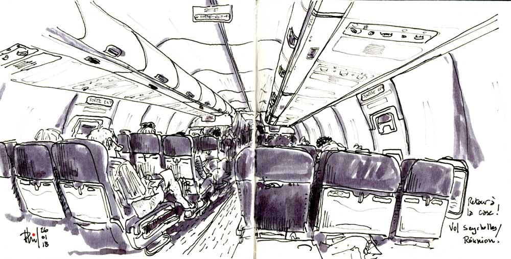 Sketch of plane cabin