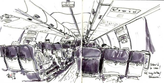 Sketch of plane cabin