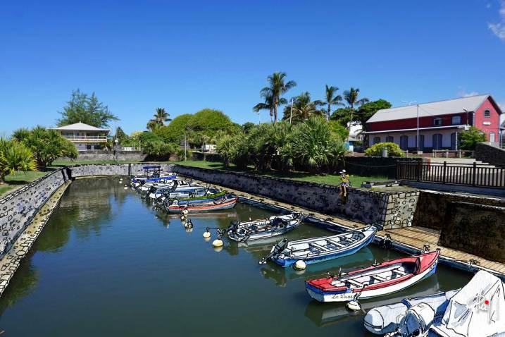 Dessin aquarellé du bassin de radoub du port de Saint-Pierre, île de la Réunion