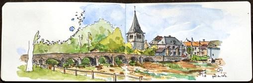 Sketch of an old village, Burgundy, France