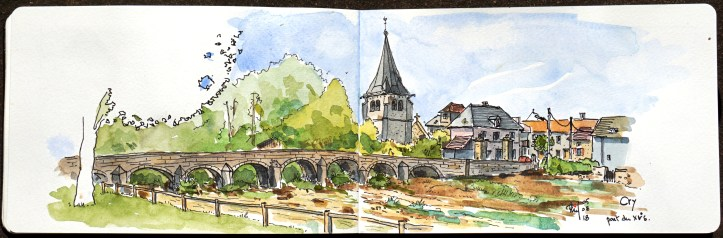Sketch of an old village, Burgundy, France