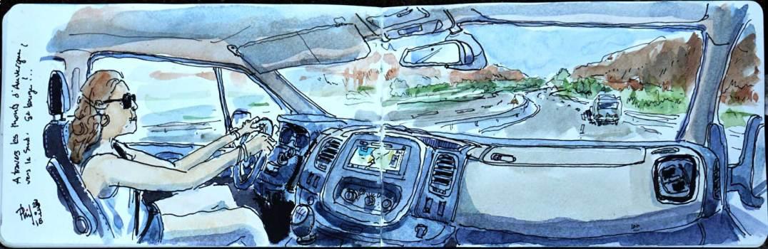 Dessin aquarellé de l'intérieur d'un véhicule.
