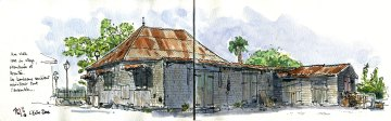 Sketch of an old creole house, Reunion Island