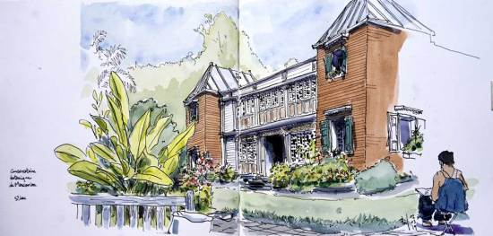 Sketch of a former creole house, Saint-Leu, Reunion Island