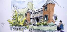 Dessin aquarellé de la maison du Conservatoire botanique de Mascarin, Saint-Leu, Île de la Réunion