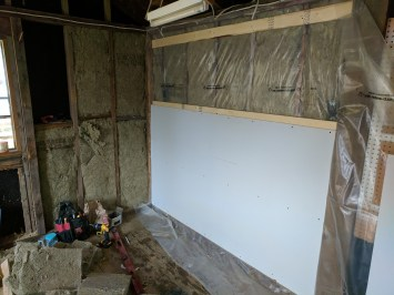 I then strapped the walls so I could put up my drywall. This project allowed me to use some beat up drywall pieces that I wouldn't have used elsewhere.