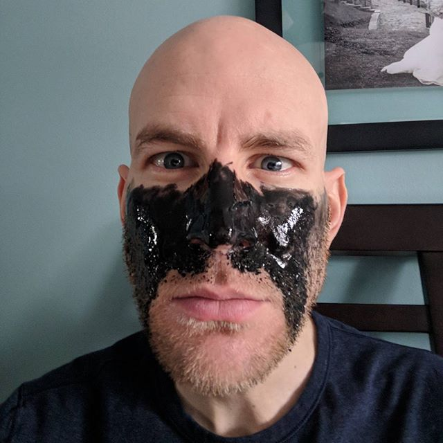 When your wife wants to do charcoal masks .. and you see it as an opportunity to make yourself look like the Ultimate Warrior