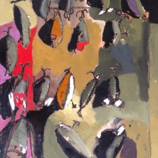 Erin McGee Ferrell. Fishing Lures Painting. Maine Winter Art Studio