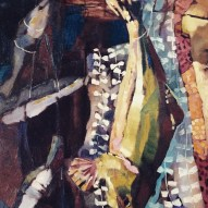 Erin McGee Ferrell. Fish 1. Sardines and Taxidermy Fish Painting. Maine Art Studio