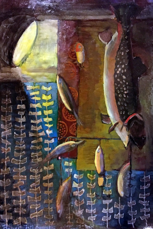 Painting by Bruce Fithian. Maine Art Studio. Adult Oil Painting Fish Still life