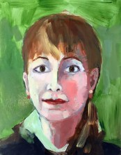 Portrait of Jo Freilich by Jo Freilich. Collaborative Self-Portraits. Adult Oil Painting Lesson. Erin McGee Ferrell, American Artist. Art teacher, Falmouth Maine. www.Philadelphia-Artist.com