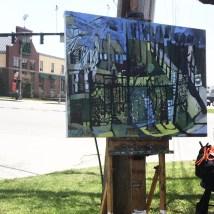Backyards. Franklin Street, Portland. Whole Foods Series. American Artist, Erin McGee Ferrell. Onsite Oil Painting Maine. 50x 38 in. Philadelphia-Artist.com