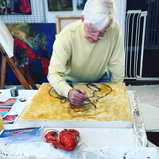 Spring Watercolor Lobsters Art Classes in Maine. Youth and Adult