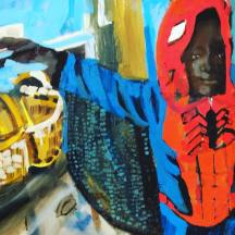 Spider-man. Maine Contemporary Figurative Painter. Erin McGee Ferrell