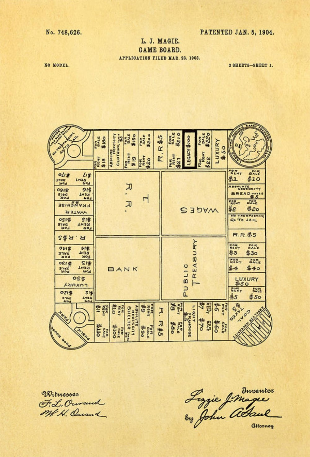 medium resolution of lizzie magie s landlord s game patent showing the board game dated january 5 1904