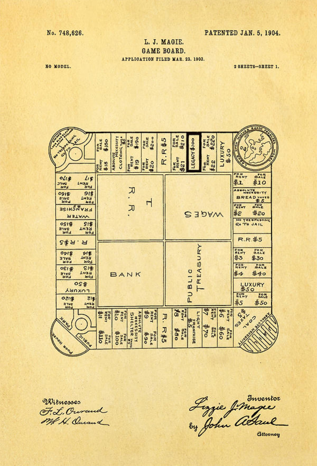 hight resolution of lizzie magie s landlord s game patent showing the board game dated january 5 1904