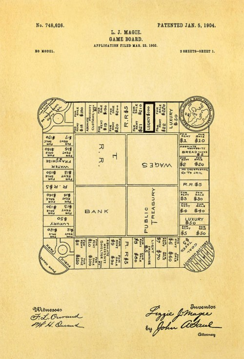 small resolution of lizzie magie s landlord s game patent showing the board game dated january 5 1904