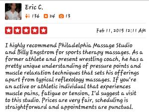 5 Star Yelp Review for Philadelphia Massage Studio