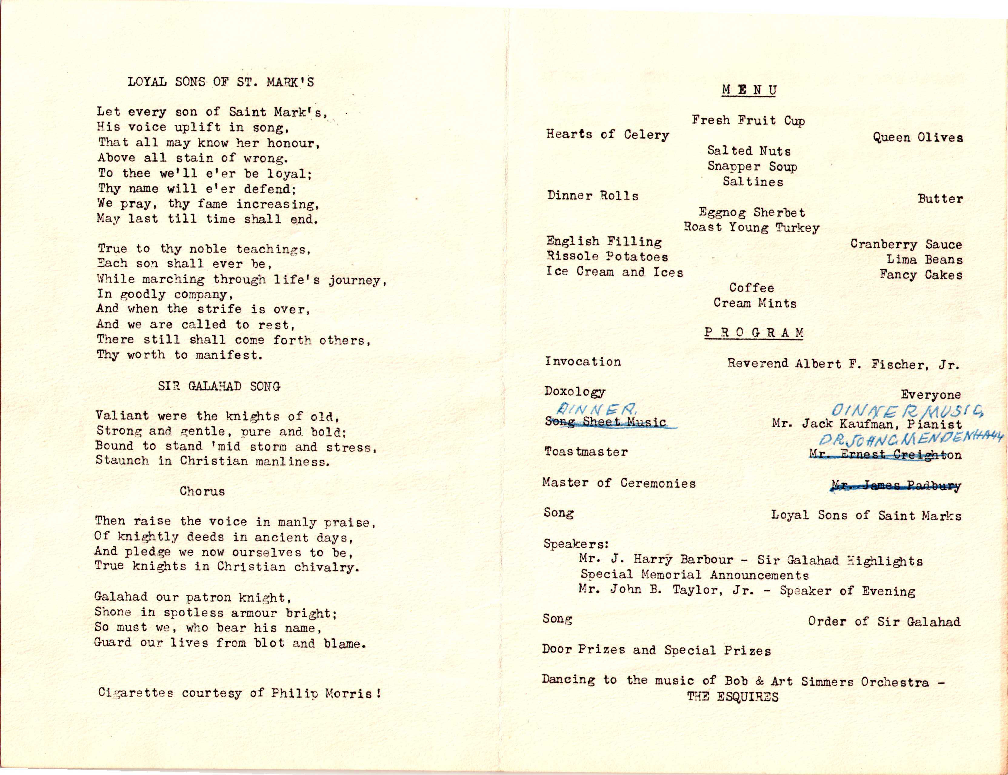 Reunion Dinner Program of the Order of Sir Galahad at St. Mark's ...