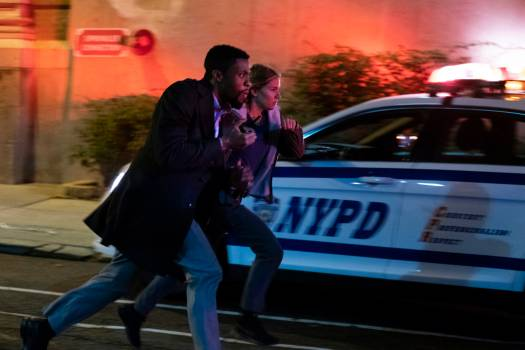 Actors Chadwick Boseman and Sienna Miller star in 21 BRIDGES