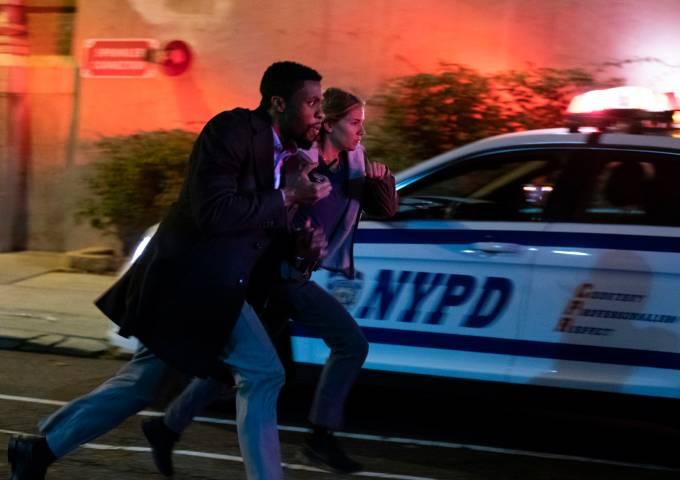 Actors Chadwick Boseman and Sienna Miller star in 21 BRIDGES