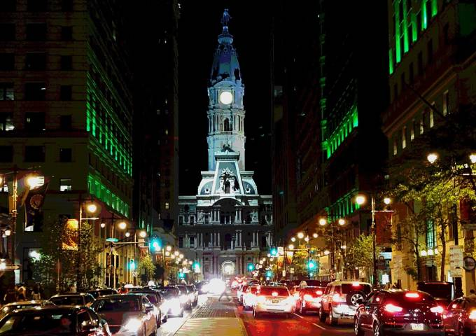 City Hall lit up