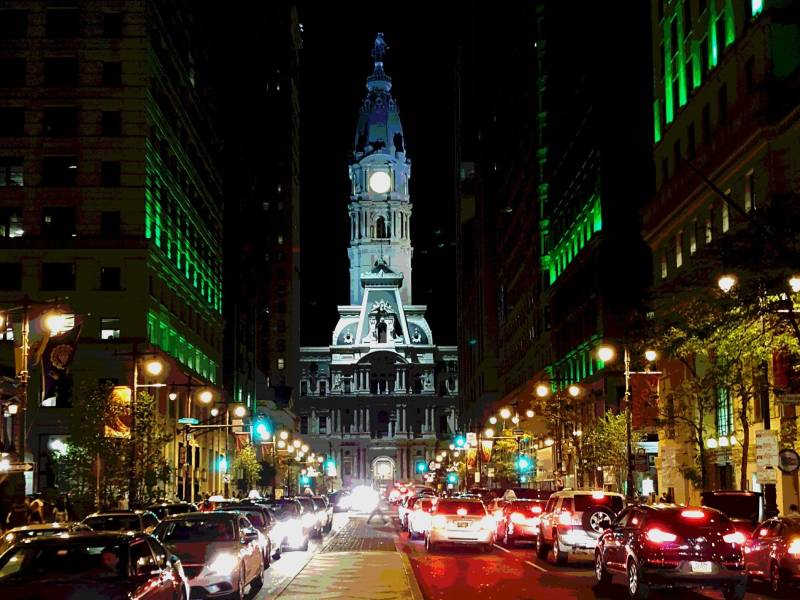 City Hall lit up