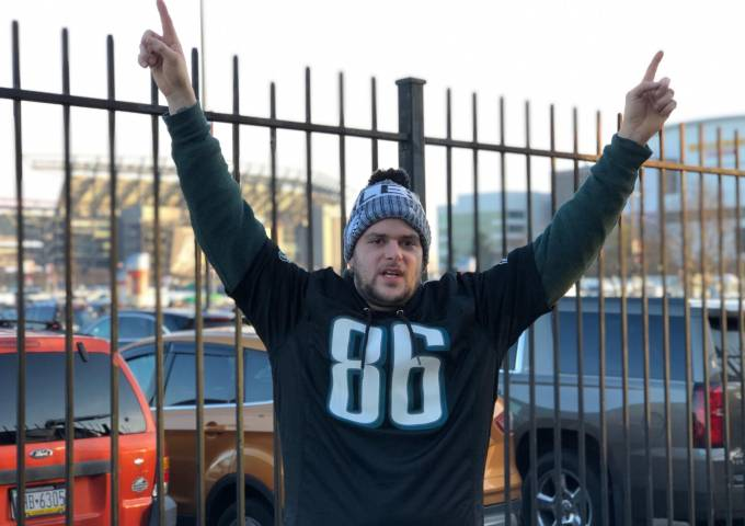 Maine resident and Eagles fan Tyler Peavey