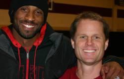 Coach Gregg Downer and Kobe Bryant