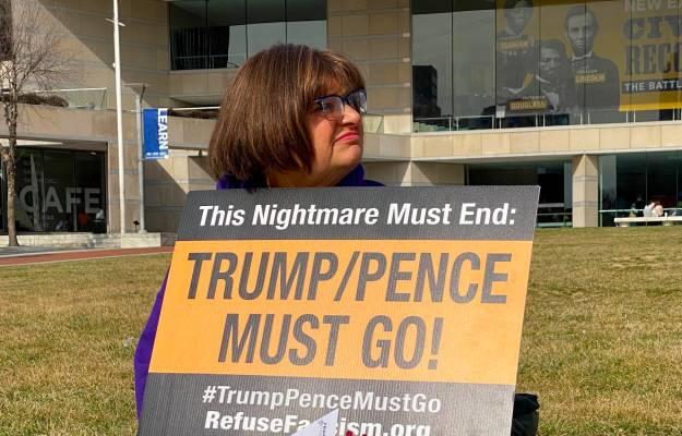 Fascism protestor
